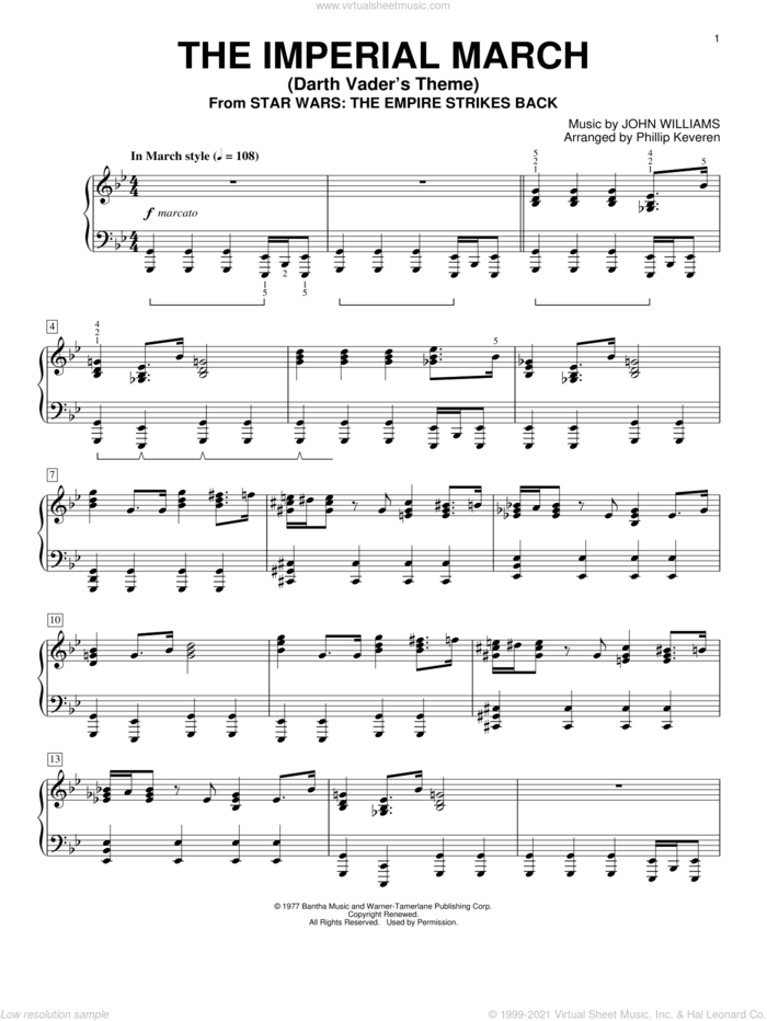 The Imperial March (Darth Vader's Theme) sheet music for piano solo by John Williams and Phillip Keveren, intermediate skill level
