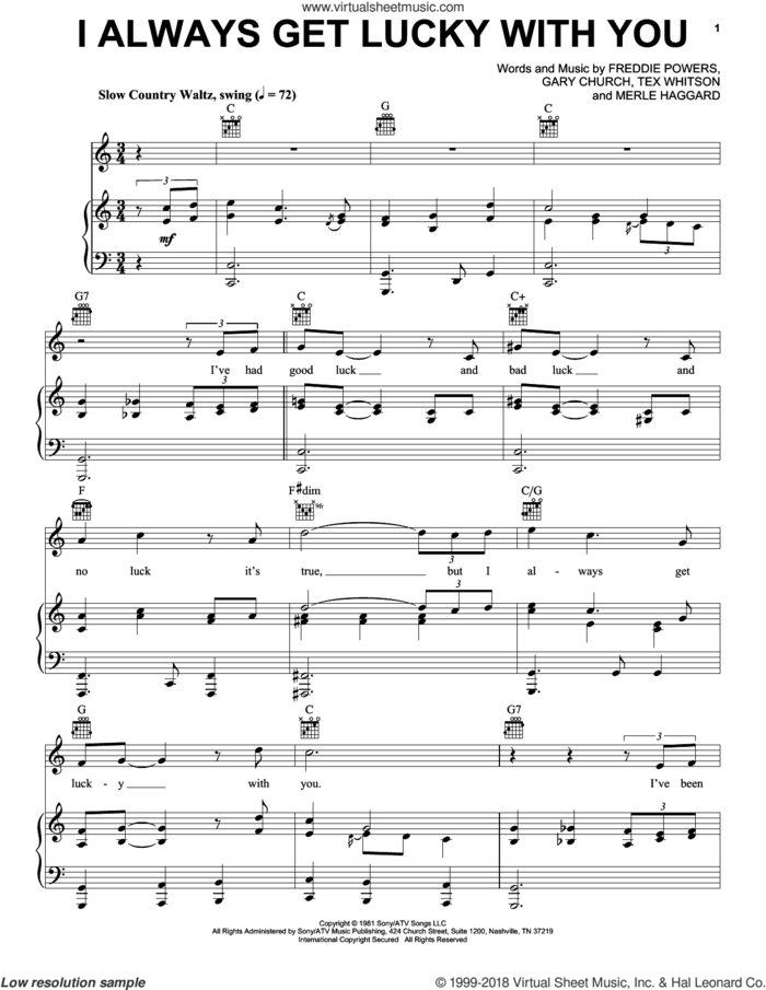 I Always Get Lucky With You sheet music for voice, piano or guitar by George Jones, Freddie Powers, Gary Church, Merle Haggard and Tex Whitson, intermediate skill level