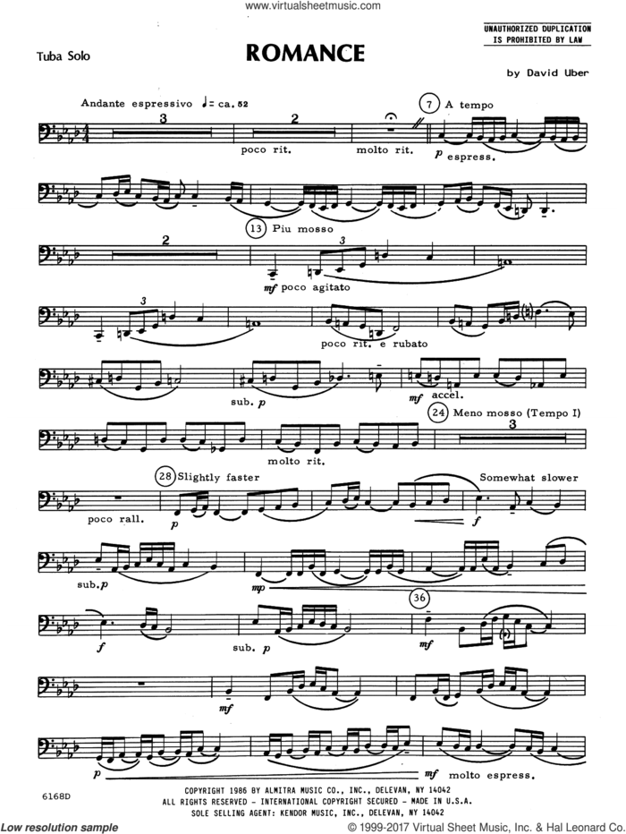 Romance (complete set of parts) sheet music for tuba and piano by David Uber, intermediate skill level