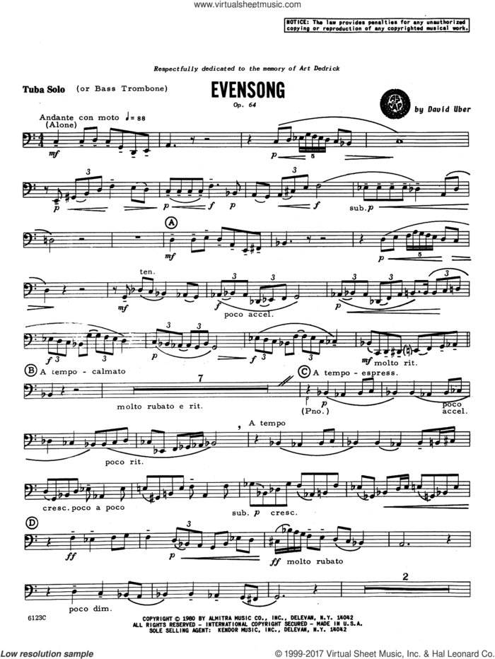 Evensong (complete set of parts) sheet music for tuba and piano by David Uber, intermediate skill level