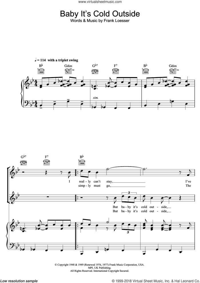 Baby, It's Cold Outside sheet music for voice, piano or guitar by Louis Jordan, Ella Fitzgerald and Frank Loesser, intermediate skill level