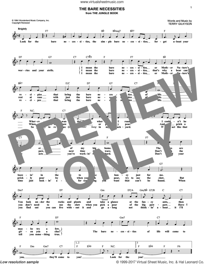 The Bare Necessities sheet music for voice and other instruments (fake book) by Terry Gilkyson, intermediate skill level