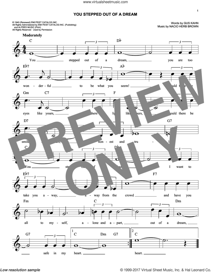 You Stepped Out Of A Dream sheet music for voice and other instruments (fake book) by Nacio Herb Brown and Gus Kahn, intermediate skill level