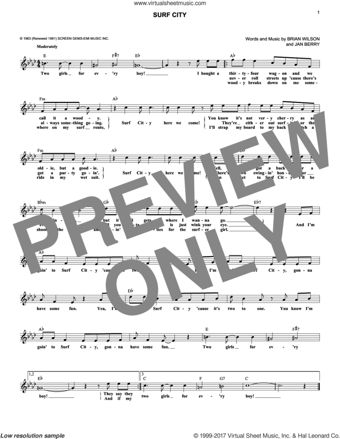Surf City sheet music for voice and other instruments (fake book) by Jan & Dean, Brian Wilson and Jan Berry, intermediate skill level