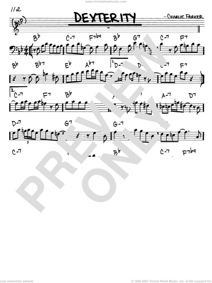Dexterity sheet music for voice and other instruments (bass clef) by Charlie Parker, intermediate skill level