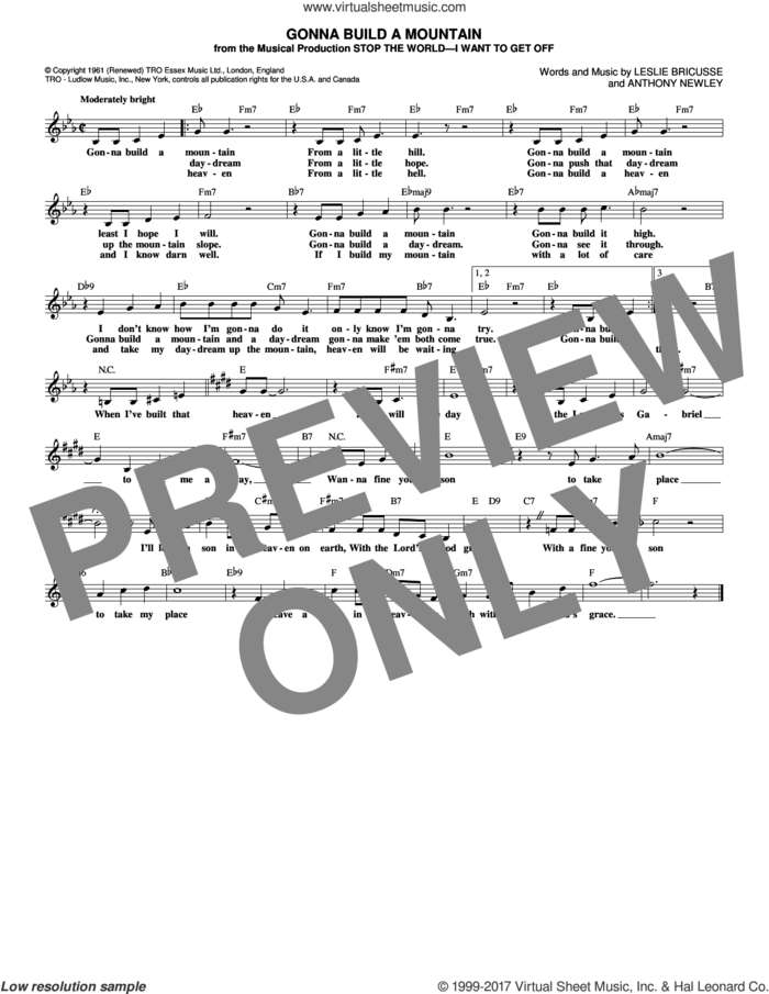 Gonna Build A Mountain sheet music for voice and other instruments (fake book) by Leslie Bricusse and Anthony Newley, intermediate skill level