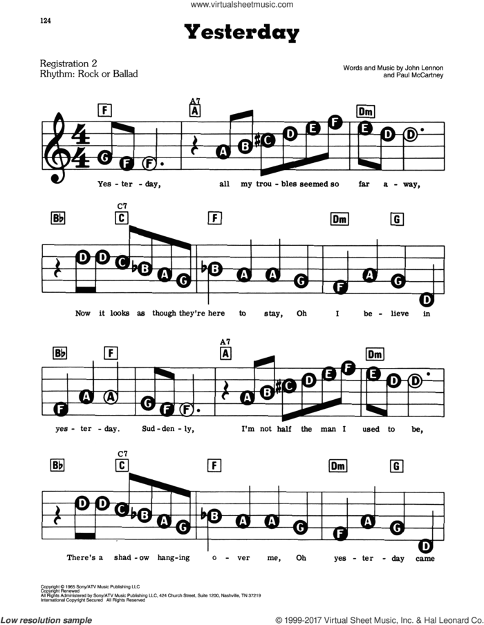 Yesterday sheet music for piano or keyboard (E-Z Play) by The Beatles, easy skill level
