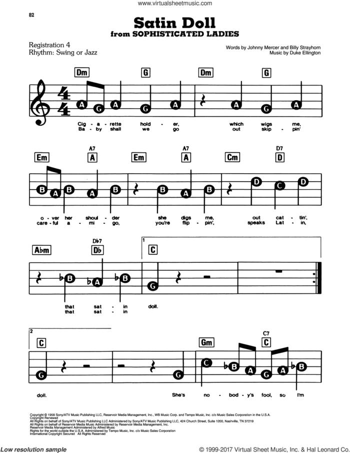 Satin Doll sheet music for piano or keyboard (E-Z Play) by Billy Strayhorn, Duke Ellington and Johnny Mercer, easy skill level