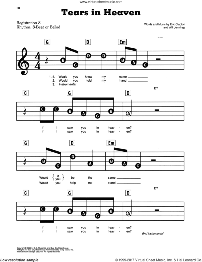 Tears In Heaven sheet music for piano or keyboard (E-Z Play) by Eric Clapton and Will Jennings, easy skill level