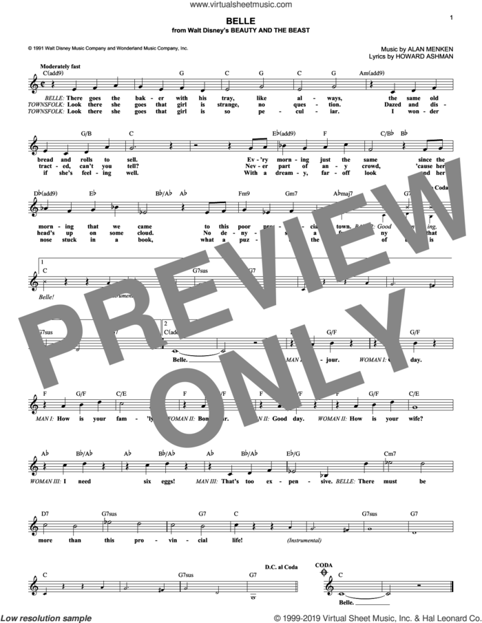 Belle (from Beauty And The Beast) sheet music for voice and other instruments (fake book) by Alan Menken and Howard Ashman, intermediate skill level