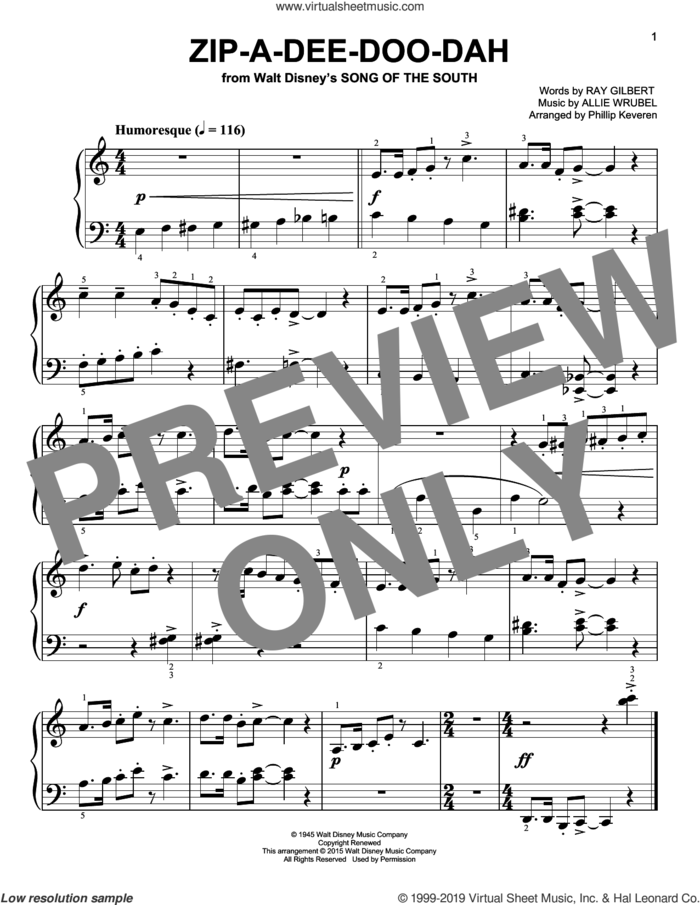 Zip-A-Dee-Doo-Dah [Classical version] (arr. Phillip Keveren) sheet music for piano solo by Ray Gilbert, Phillip Keveren and Allie Wrubel, easy skill level