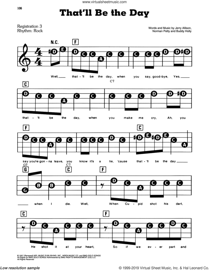 That'll Be The Day sheet music for piano or keyboard (E-Z Play) by The Crickets, Buddy Holly, Jerry Allison and Norman Petty, easy skill level