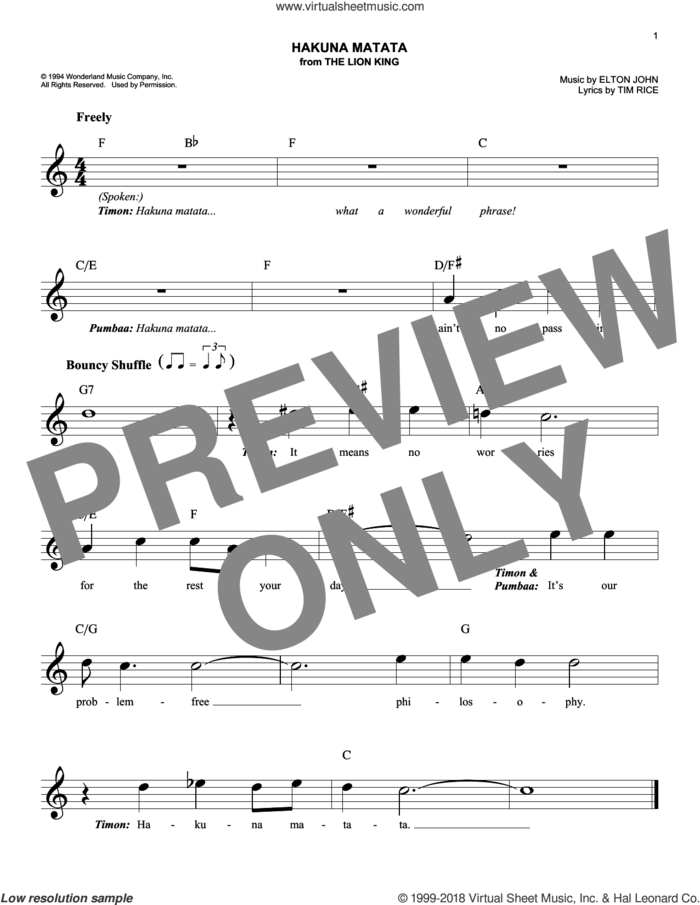 Hakuna Matata (from The Lion King) sheet music for voice and other instruments (fake book) by Elton John, Jimmy Cliff featuring Lebo M and Tim Rice, intermediate skill level