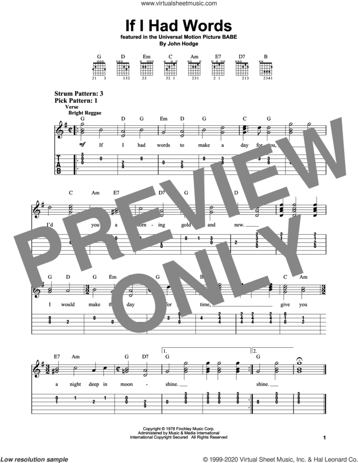 If I Had Words sheet music for guitar solo (easy tablature) by John Hodge, easy guitar (easy tablature)