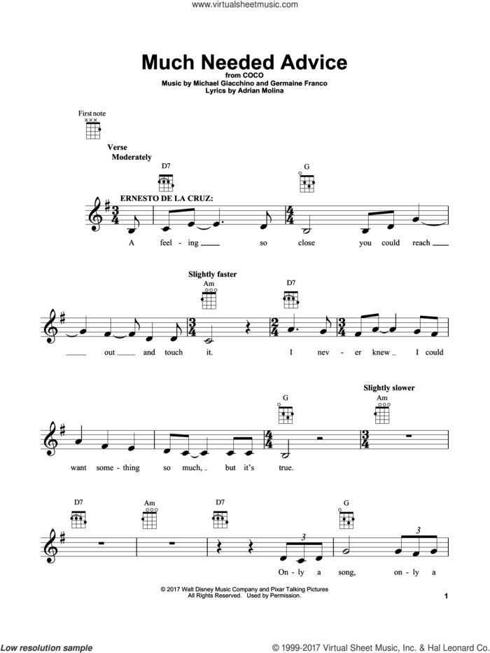Much Needed Advice (from Coco) sheet music for ukulele by Adrian Molina, Coco (Movie), Germaine Franco and Michael Giacchino, intermediate skill level