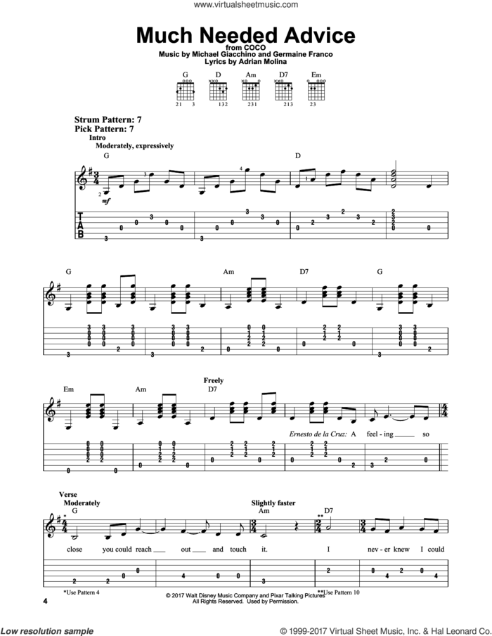 Much Needed Advice (from Coco) sheet music for guitar solo (easy tablature) by Michael Giacchino, Coco (Movie), Adrian Molina and Germaine Franco, easy guitar (easy tablature)