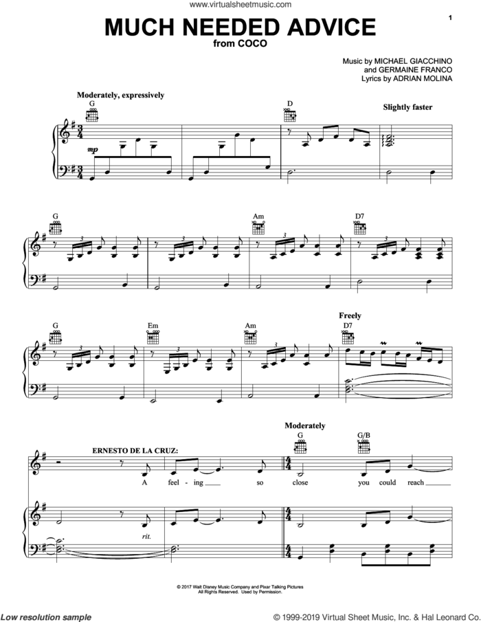 Much Needed Advice (from Coco) sheet music for voice, piano or guitar by Michael Giacchino, Coco (Movie), Adrian Molina and Germaine Franco, intermediate skill level