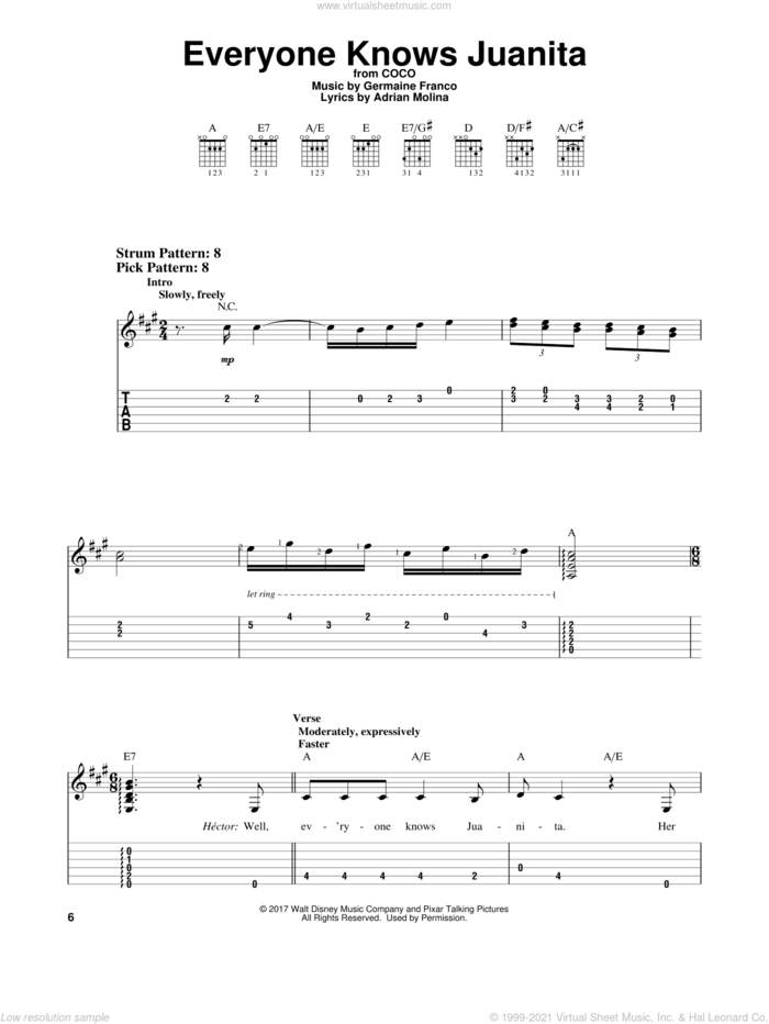 Everyone Knows Juanita (from Coco) sheet music for guitar solo (easy tablature) by Adrian Molina, Coco (Movie), Germaine Franco and Germaine Franco & Adrian Molina, easy guitar (easy tablature)