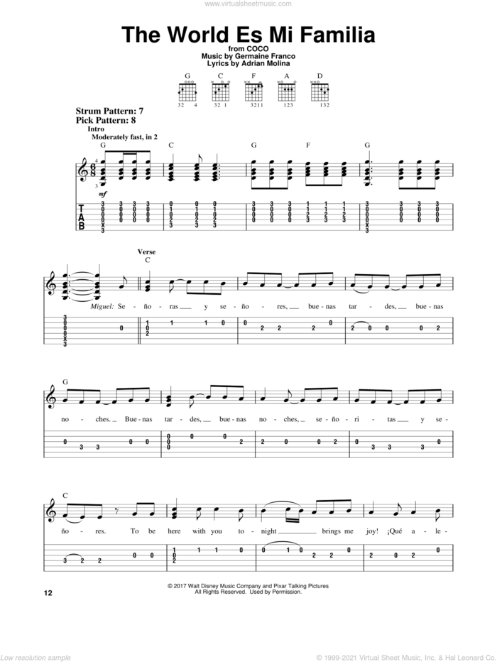 The World Es Mi Familia (from Coco) sheet music for guitar solo (easy tablature) by Germaine Franco, Coco (Movie), Adrian Molina and Germaine Franco & Adrian Molina, easy guitar (easy tablature)