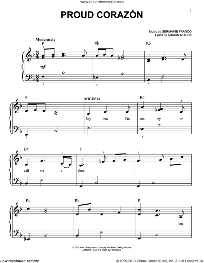 Proud Corazon (from Coco) sheet music for piano solo by Adrian Molina, Coco (Movie), Germaine Franco and Germaine Franco & Adrian Molina, easy skill level