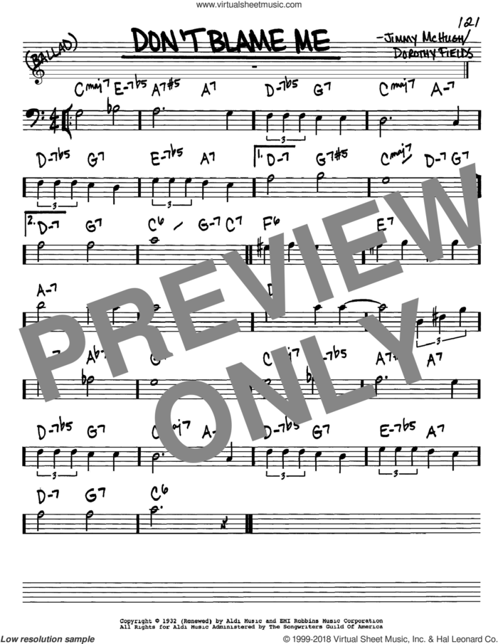 Don't Blame Me sheet music for voice and other instruments (bass clef) by Dorothy Fields and Jimmy McHugh, intermediate skill level