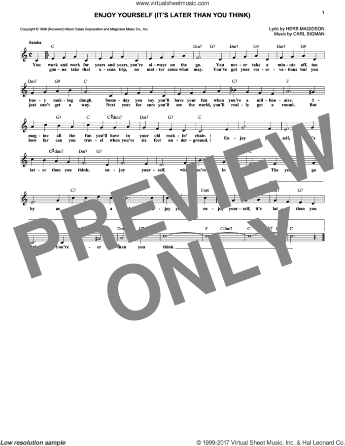Enjoy Yourself (It's Later Than You Think) sheet music for voice and other instruments (fake book) by Carl Sigman and Herb Magidson, intermediate skill level
