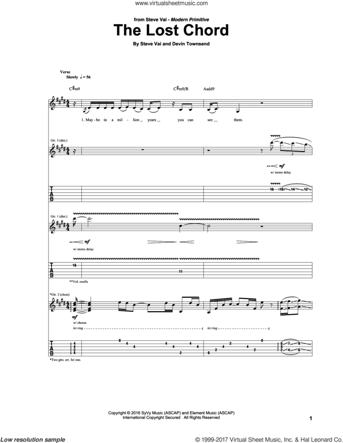 The Lost Chord sheet music for guitar (tablature) by Steve Vai and Devin Townsend, intermediate skill level