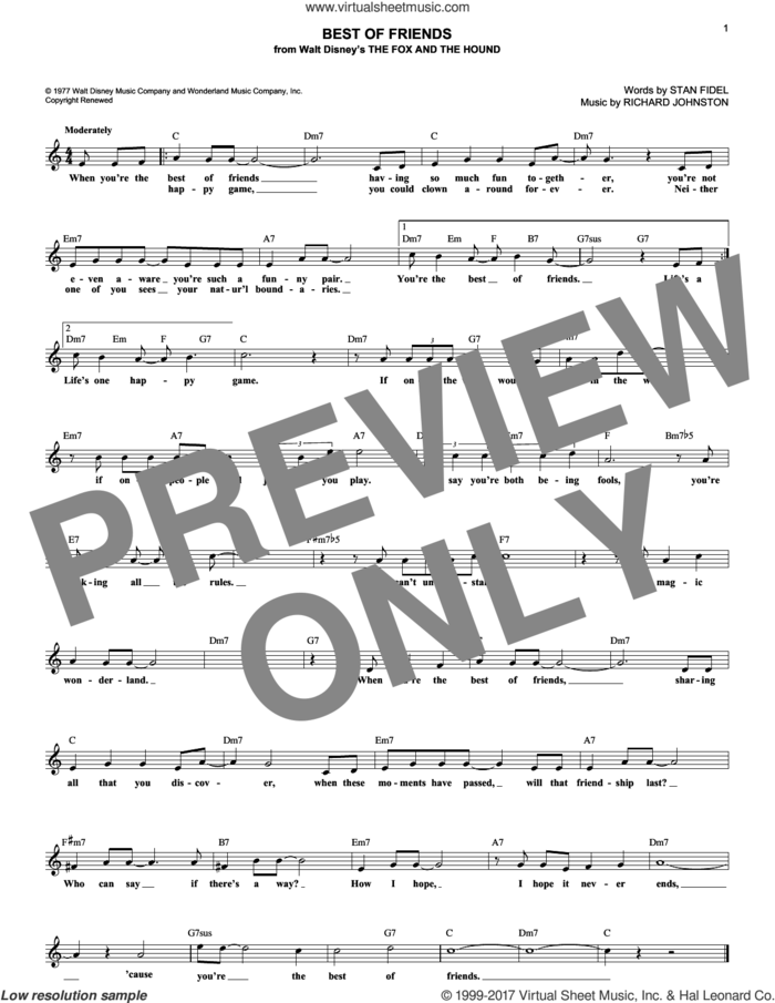 Best Of Friends sheet music for voice and other instruments (fake book) by Richard Johnston and Stan Fidel, intermediate skill level