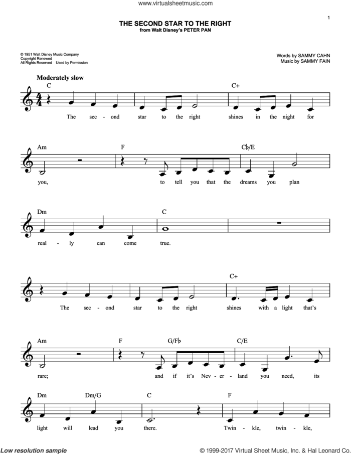 The Second Star To The Right sheet music for voice and other instruments (fake book) by Sammy Cahn and Sammy Fain, intermediate skill level