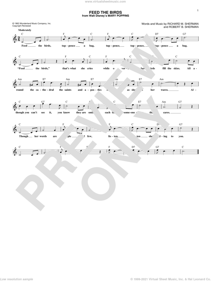 Feed The Birds (from Mary Poppins) sheet music for voice and other instruments (fake book) by Richard M. Sherman and Robert B. Sherman, intermediate skill level