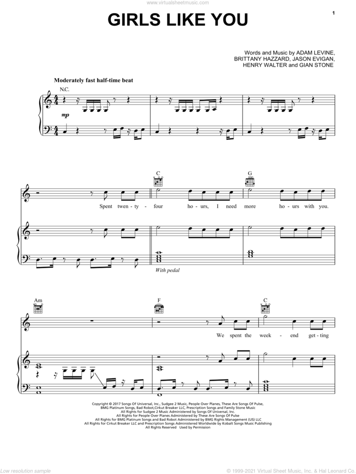 Girls Like You sheet music for voice, piano or guitar by Maroon 5, Adam Levine, Henry Walter, Jason Evigan and Starrah, intermediate skill level