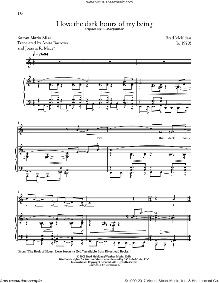 I Love The Dark Hours Of My Being sheet music for voice and piano (Low Voice) by Rainer Maria Rilke and Brad Mehldau, classical score, intermediate skill level