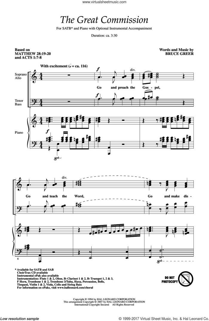 The Great Commission sheet music for choir (SATB: soprano, alto, tenor, bass) by Bruce Greer, intermediate skill level