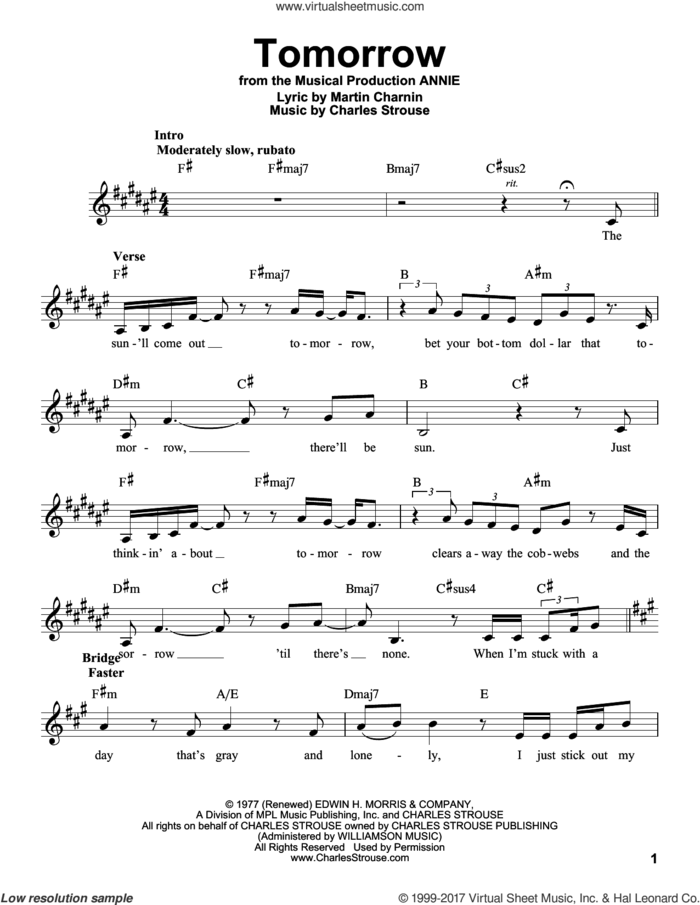 Tomorrow sheet music for voice solo by Charles Strouse and Martin Charnin, intermediate skill level