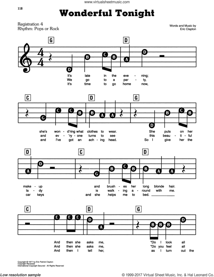 Wonderful Tonight sheet music for piano or keyboard (E-Z Play) by Eric Clapton, easy skill level