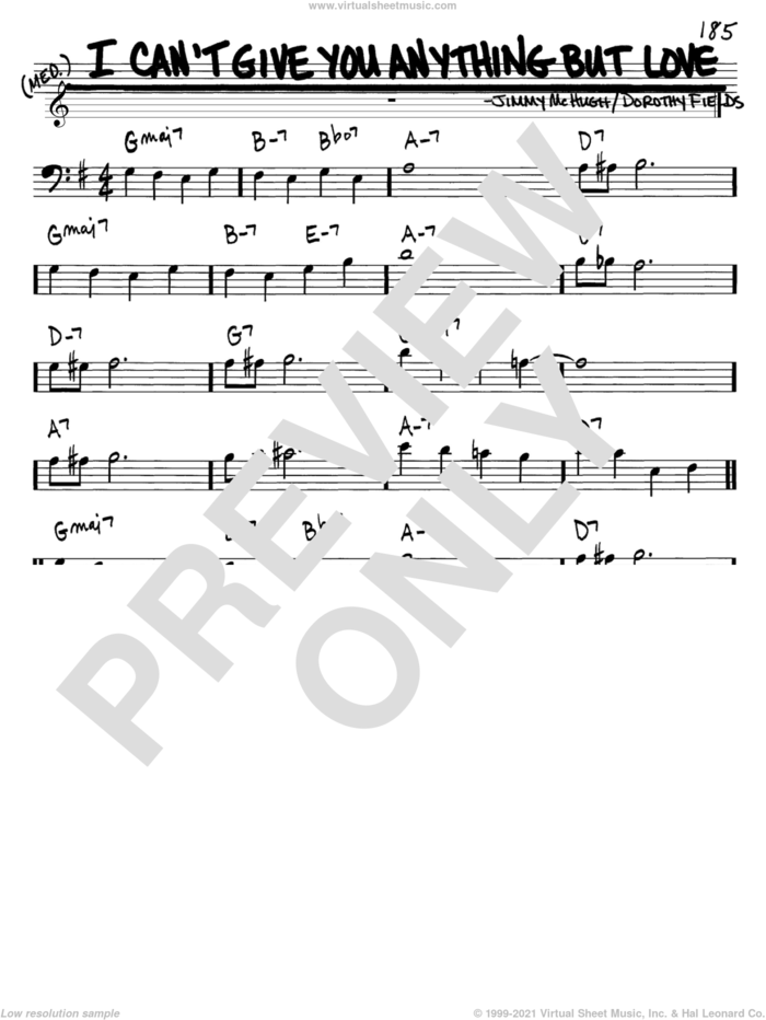 I Can't Give You Anything But Love sheet music for voice and other instruments (bass clef) by Dorothy Fields and Jimmy McHugh, intermediate skill level