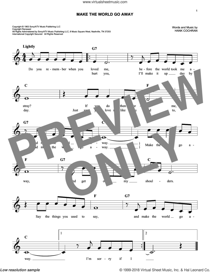 Make The World Go Away sheet music for voice and other instruments (fake book) by Hank Cochran, Eddy Arnold and Elvis Presley, intermediate skill level