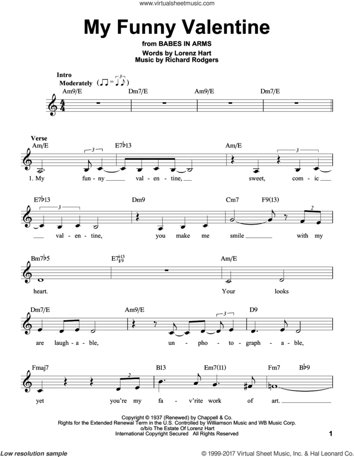My Funny Valentine sheet music for voice solo by Rodgers & Hart, Judy Niemack, Lorenz Hart and Richard Rodgers, intermediate skill level