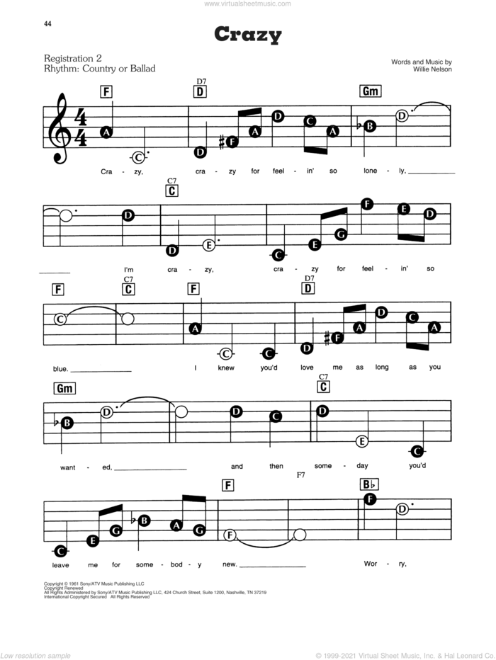 Crazy sheet music for piano or keyboard (E-Z Play) by Willie Nelson and Patsy Cline, easy skill level