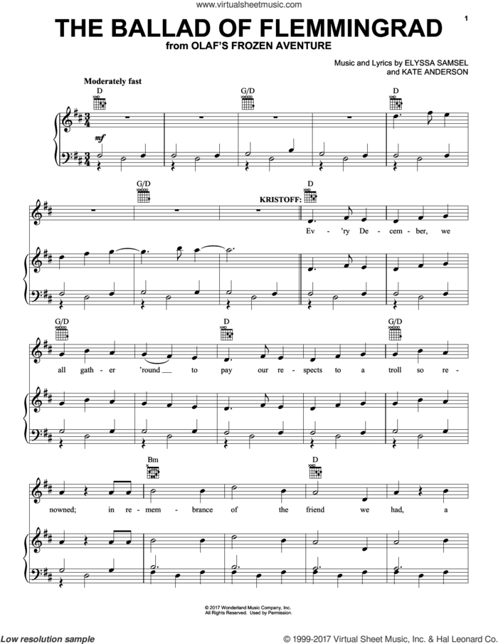The Ballad Of Flemmingrad sheet music for voice, piano or guitar by Elyssa Samsel and Kate Anderson, intermediate skill level