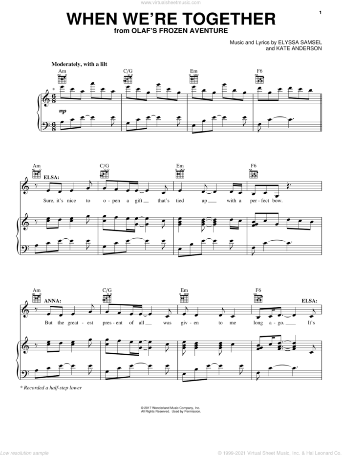 When We're Together sheet music for voice, piano or guitar by Elyssa Samsel and Kate Anderson, intermediate skill level