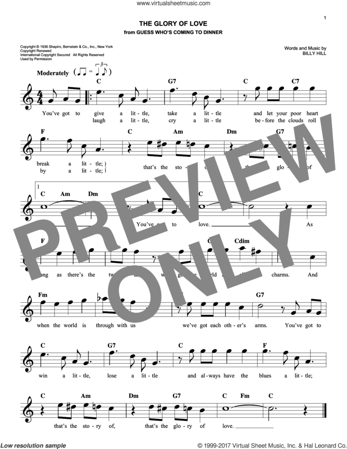 The Glory Of Love sheet music for voice and other instruments (fake book) by Billy Hill, Count Basie, Jimmy Durante, Peggy Lee and The Platters, intermediate skill level