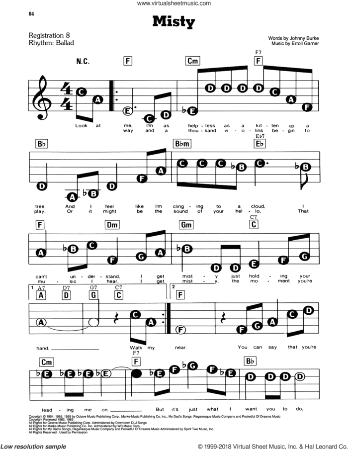 Misty sheet music for piano or keyboard (E-Z Play) by John Burke, Johnny Mathis and Erroll Garner, easy skill level