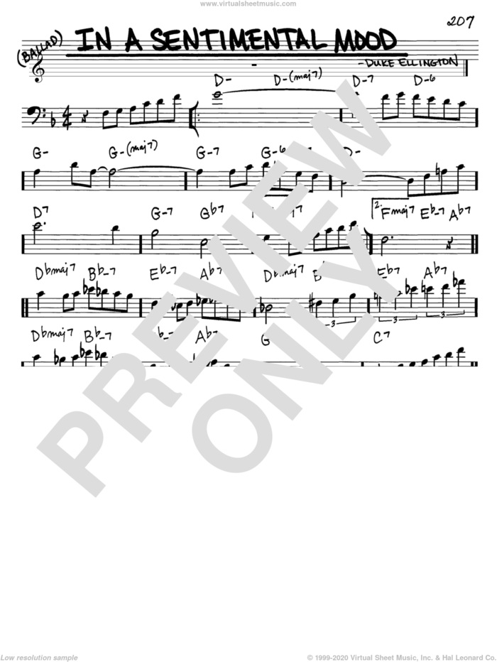 In A Sentimental Mood sheet music for voice and other instruments (bass clef) by Duke Ellington, Irving Mills and Manny Kurtz, intermediate skill level