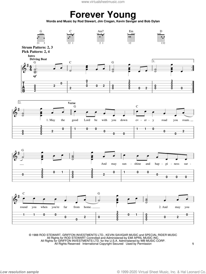 Forever Young sheet music for guitar solo (chords) by Rod Stewart, Bob Dylan, Jim Cregan and Kevin Savigar, easy guitar (chords)