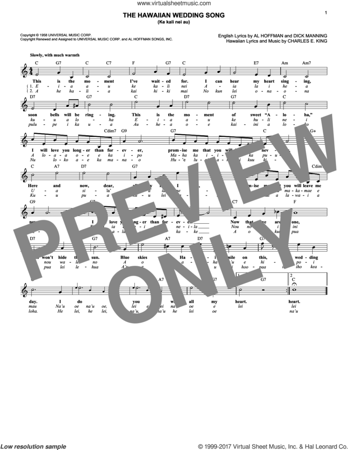 The Hawaiian Wedding Song (Ke Kali Nei Au) sheet music for voice and other instruments (fake book) by Andy Williams, Elvis Presley, Al Hoffman, Charles E. King and Dick Manning, wedding score, intermediate skill level