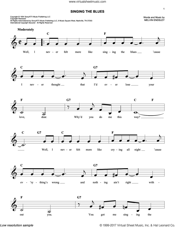 Singing The Blues sheet music for voice and other instruments (fake book) by Marty Robbins, Guy Mitchell and Melvin Endsley, intermediate skill level