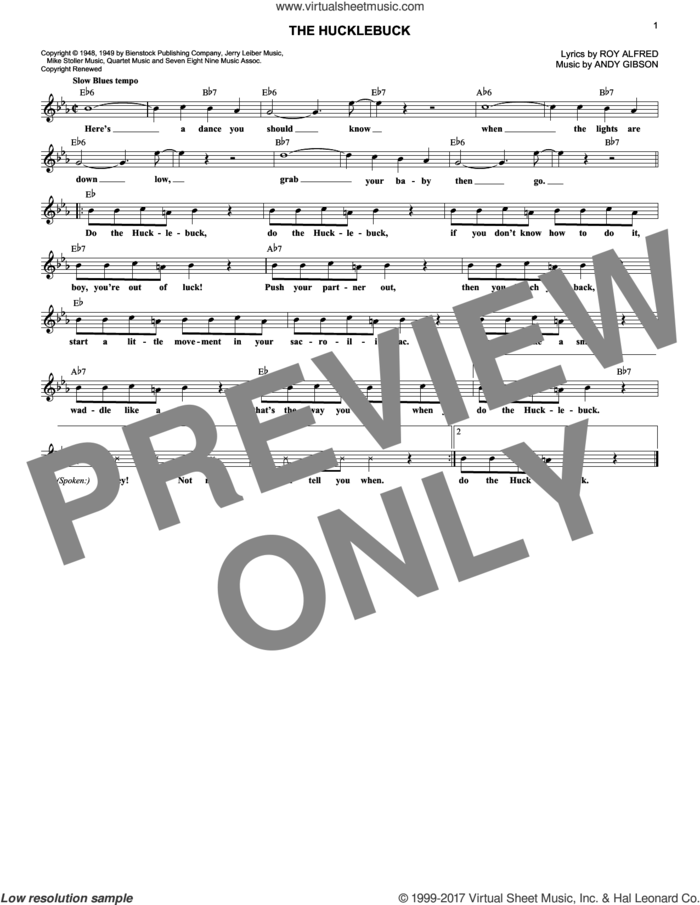 The Hucklebuck sheet music for voice and other instruments (fake book) by Andy Gibson and Roy Alfred, intermediate skill level
