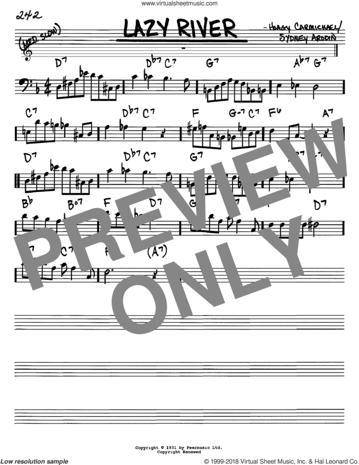 Lazy River sheet music for voice and other instruments (bass clef) by Hoagy Carmichael, Bobby Darin and Sidney Arodin, intermediate skill level