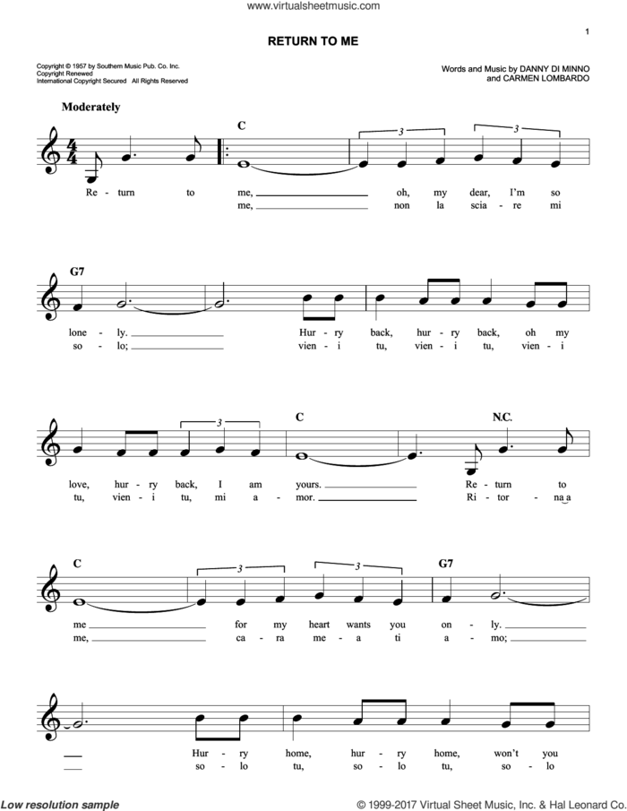 Return To Me sheet music for voice and other instruments (fake book) by Dean Martin, Carmen Lombardo and Danny Di Minno, intermediate skill level